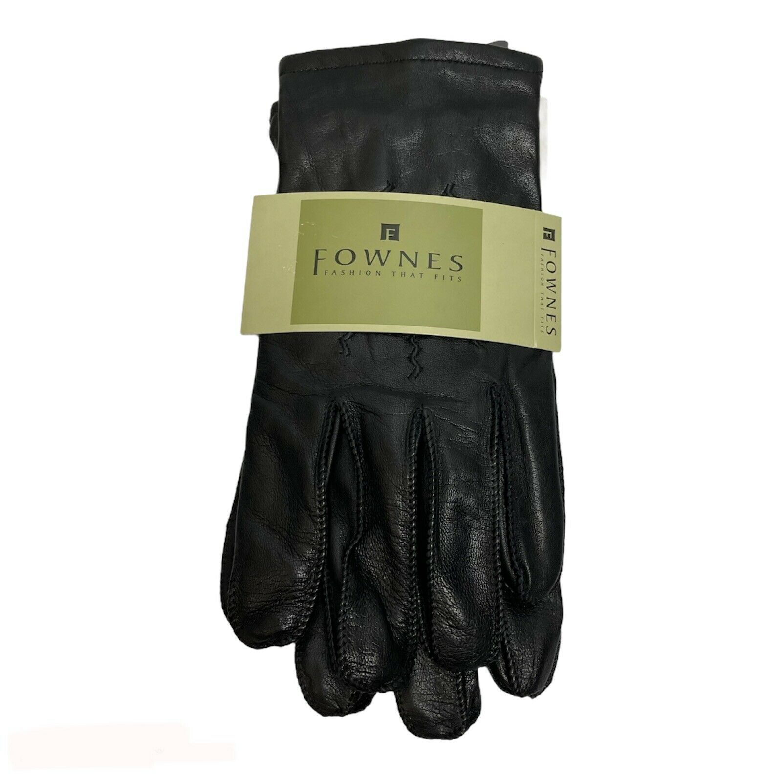 Fownes Men's Leather Gloves Black Sz Medium Wool Cashmere Nylon Lined 1843 New