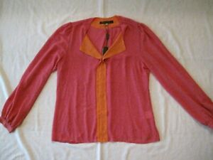 Rose-Olive-Women-s-Top-Blouse-Shirt-Long-Sleeves-Pink-Orange-Size-L-New