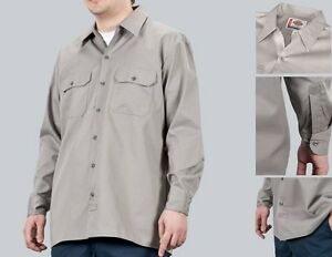 Dickies-Hemd-Longsleeve-Work-Shirt-Hemd-Silver-hellgrau-Groessen-S-bis-3XL-44-66