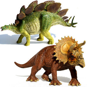 Large Stegosaurus + Triceratops Dinosaurs Figure Educational Toy Model Birthday