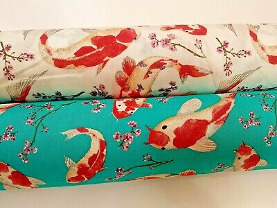 Rose /& Hubble 100/% cotton black Japanese koi carp fabric half//full mtrs /& FQ