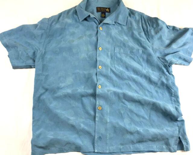 Nat Nast Luxery Originals Button Down Short Sleeve Shirt Blue Mens Size XL Silk