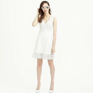 NWT-J-Crew-Women-s-Size-4-White-Striped-Eyelet-Dress-Fit-And-Flare-Sleeveless