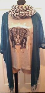 Woman-Top-Jacket-Scarf-New-Directions-Weekend-3-Piece-Set-Teal-Gray-NWT-S-M-L-XL