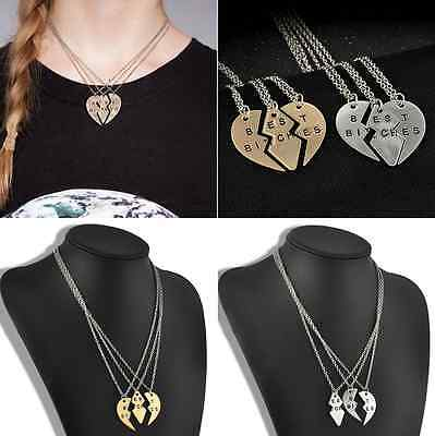 2015 Best Bitches Best Friend Forever Gold Silver Break Heart Pendant Necklace