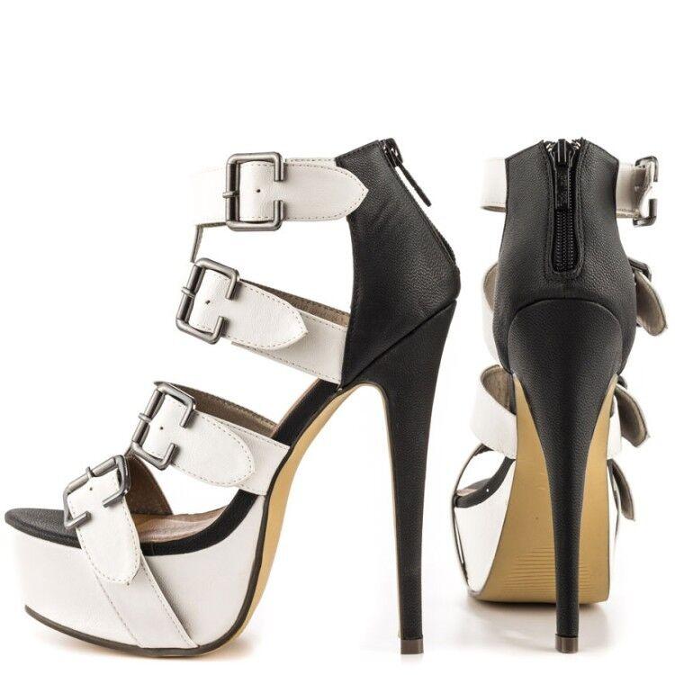 femmes Open Toe Gladiator Platform High Heel Stilettos Zip Sandal Buckle chaussures SZ