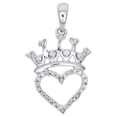 Sterling Silver Round Diamond Tiara Crown Princess Band Ring 0.48 Cttw