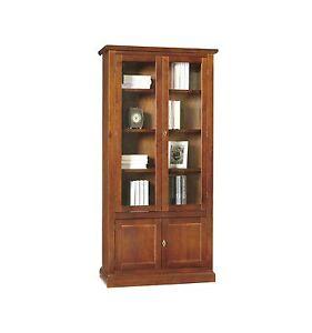 Libreria/Vetrina Arte povera 2 porte vetro 2 ceche tinta noce 387/N - Libreria/V