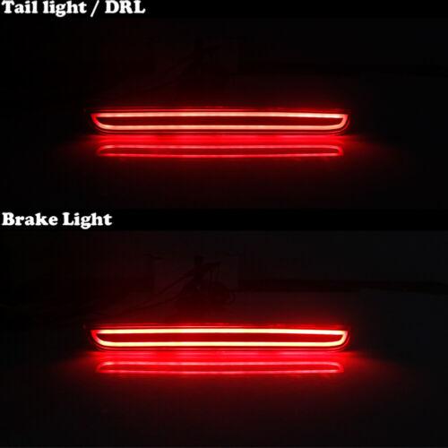 2X Smoked Lens Red LED Foglight Tail Brake Lights For 2015-2019 Dodge Challenger