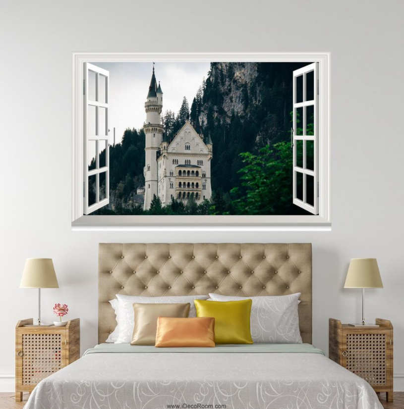 3D Castle Weiß Building 09 Open Windows WallPaper Murals Wall Print AJ Jenny