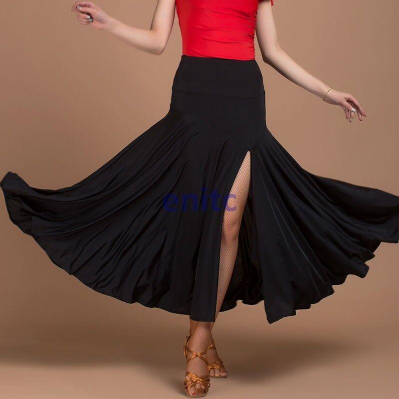 Lady Latin Salsa Tango Rumba Cha cha Square Ballroom Dancewear Skirts Slit Dress
