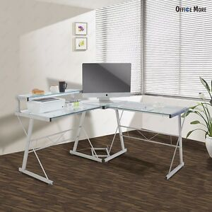 computer desk pc glass laptop table workstation home office clear