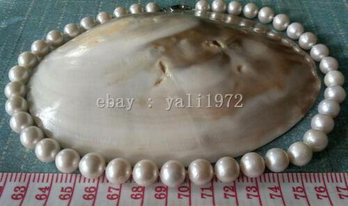 environ 45.72 cm 10-12 Mm AAAA Blanc South Sea Edison ronde collier de perles 18 in