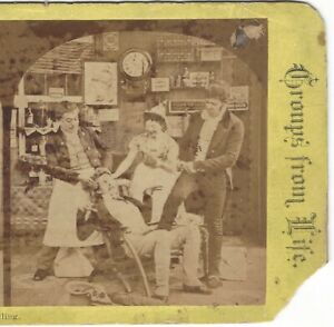 Tooth-Pulling-with-Ad-on-Back-Circa-1880-039-s-Comic-Stereoview-Card-Dentist