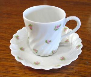 Antique-Haviland-Limoges-France-demitasse-cup-and-saucer-w-roses