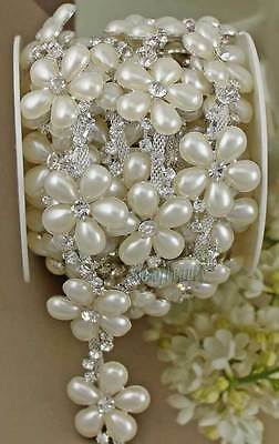 1yds Clear Rhinestone Cream or Ivory Pearl Flower Chain Costume Sewing Trims