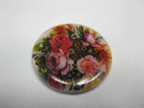 2 Muschel Scheiben 20mm mit Blumenmuster Perlen 8598