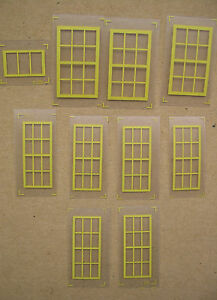 Set-of-Yellow-Repro-Windows-for-American-Flyer-Mystic-talking-crane-Stations