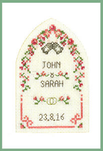 complete cross stitch kit on pink 16 aida Pink New Baby card