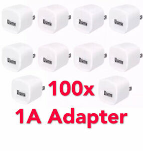 Lot 100 X WHITE USB Wall Charger AC Power Adapter For iPhone 4 5 6 7 8 + US