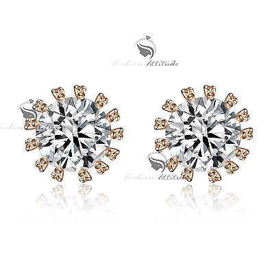 18k rose gold gf made with SWAROVSKI crystal stud earrings 4ct solitaire