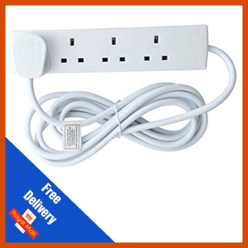 4 Gang Way UK 13A Mains Power Extension Lead 1m//2m//3m//5m//10m//15m Black White