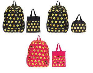 55b4f016ee47 Girls Boys School Camp Book Bag Kids Backpack Emoji Smiley Lunch Box ...