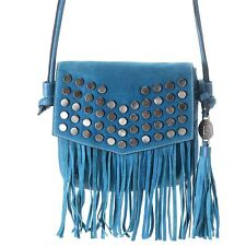 500ef413b4f1 Firenze Bella Laser Stud Fringe Flap Suede Leather Crossbody Shoulder bag  Blue