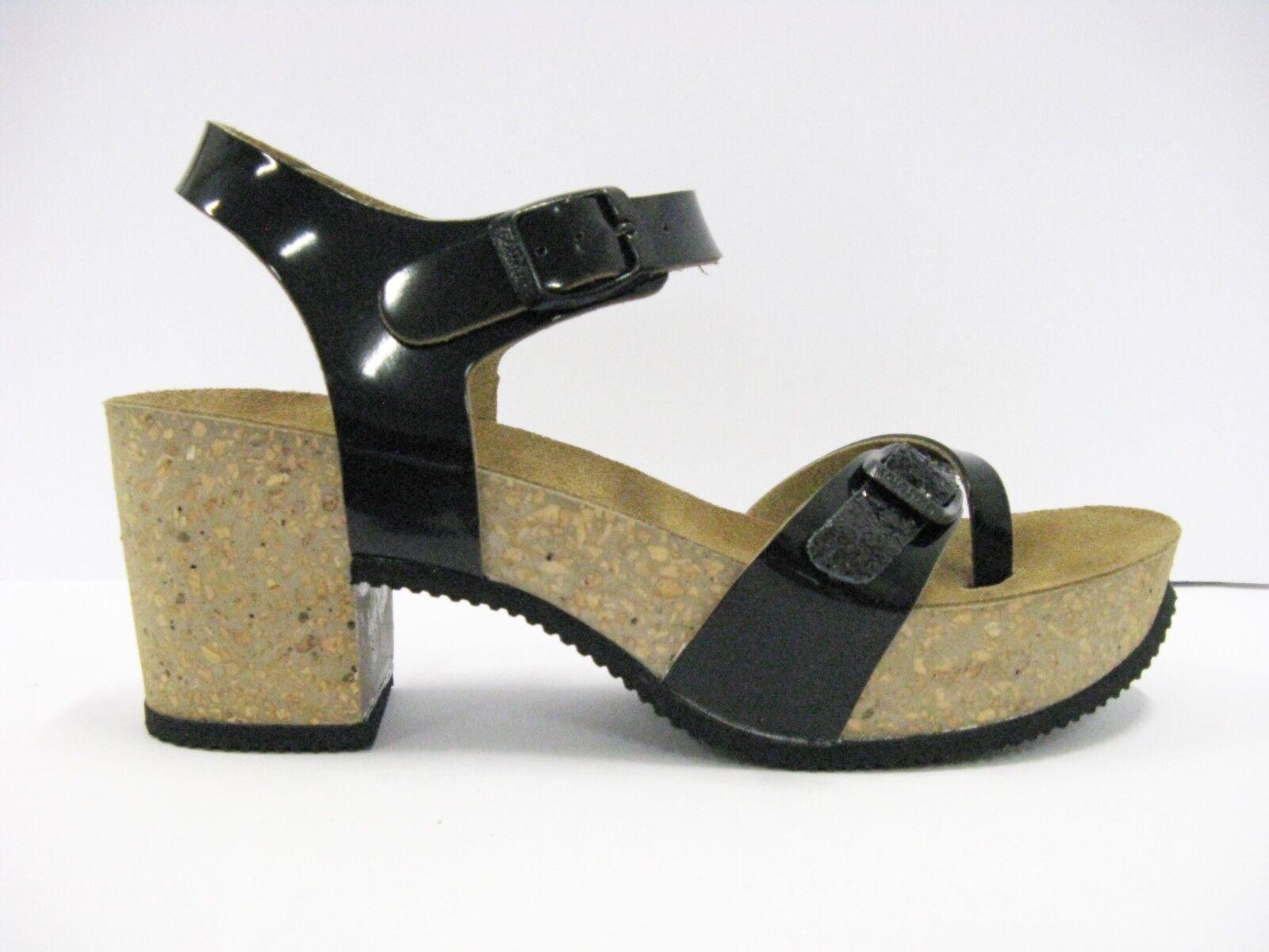 GOLDSTAR 1096 sandalo donna nero infradito anatomico tacco sughero nero donna glitter 7a937c