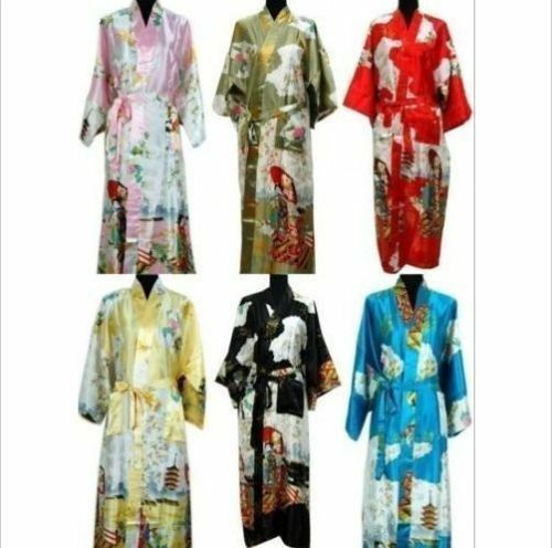 bf46de6ef7 1 of 7FREE Shipping Oriental Chinese Kimono Style Dressing Gown Bath Robe Pajamas  2 ...