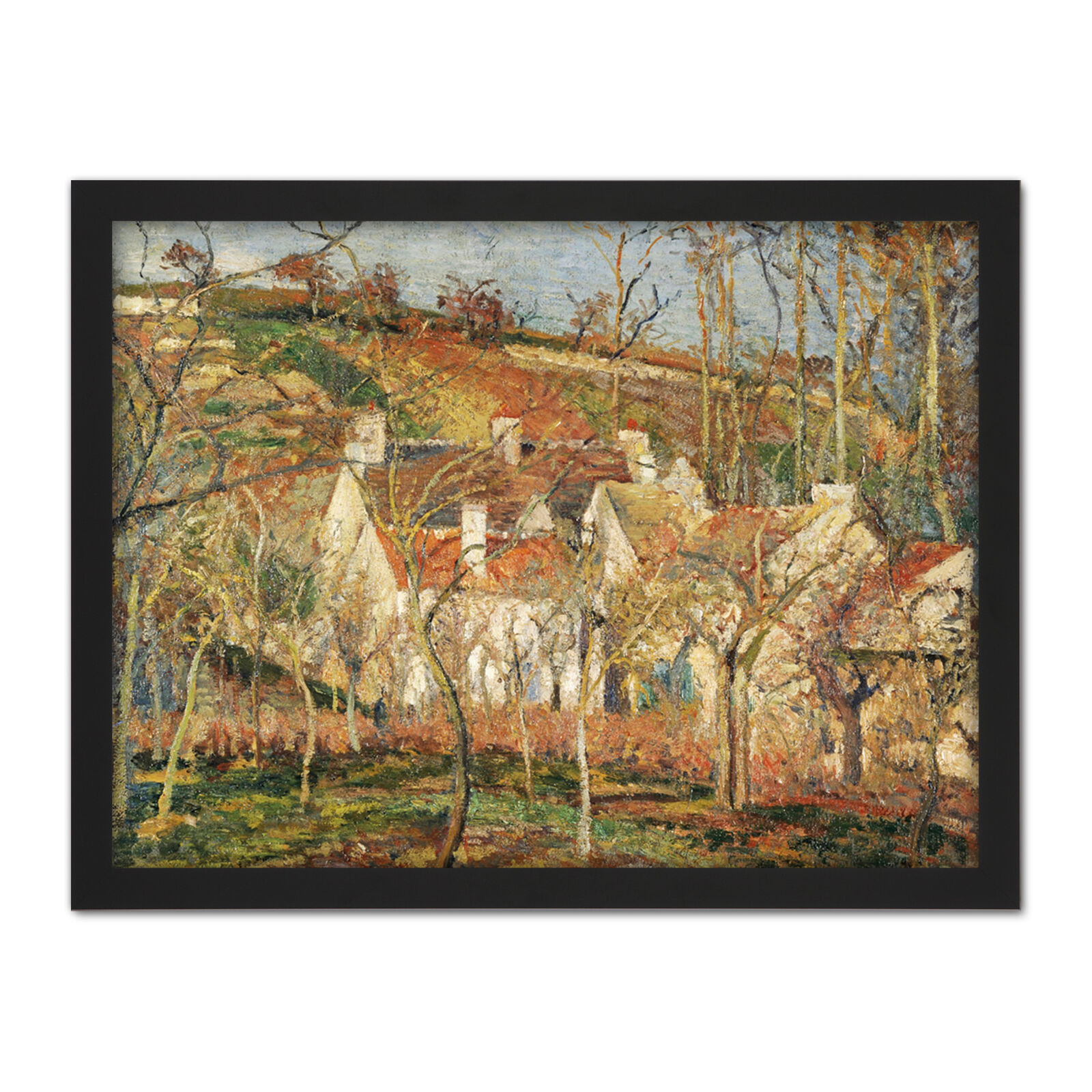 Pissarro rot Roofs Corner Of A Village Winter Large Framed Art Print