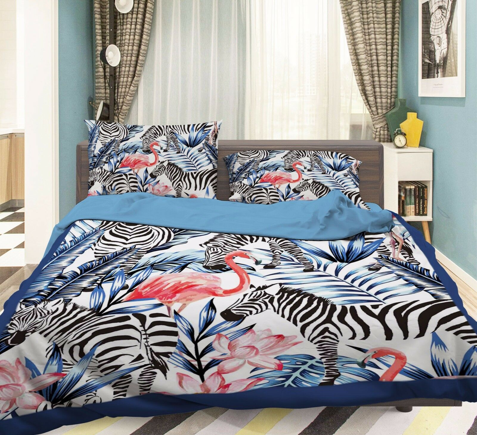 3D Zebra Flamingo Plant 52 Bett Pillowcases Quilt Duvet Startseite Set Single Königin CA