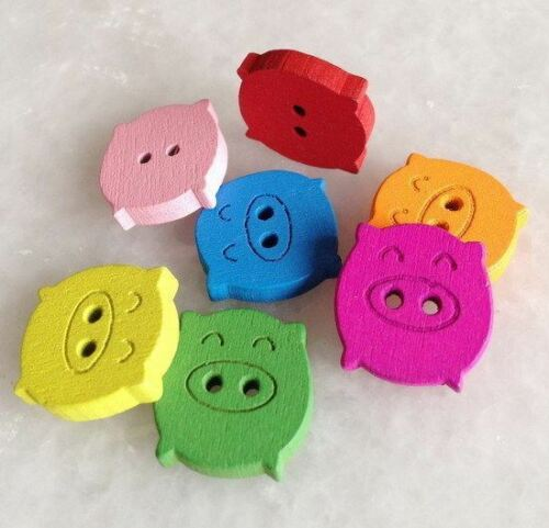100pcs Mixed Color Cut Pig Wooden Buttons Fit Sewing or Scrapbooking Pnk200
