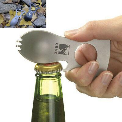 Pocket Spoon Fork Wrench Bottle Opener Carabiner Kit Camping Hiking Tool Newest