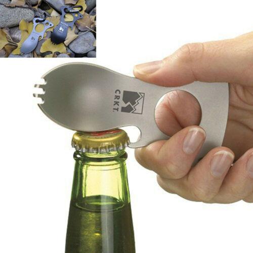 Pocket Spoon Fork Wrench Bottle Opener Carabiner Kit Camping Hiking Tool