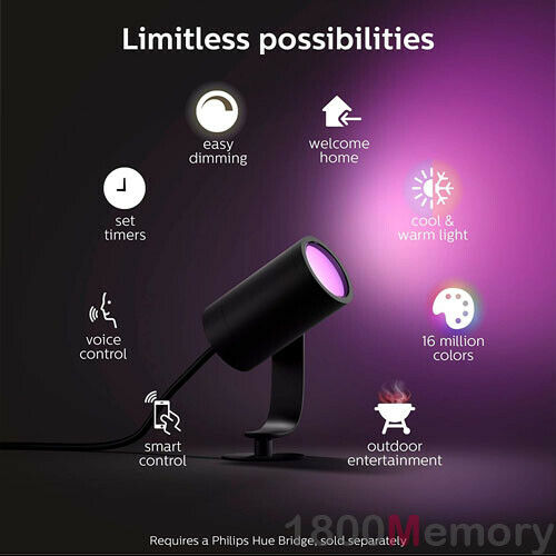 Philips Hue White /& Color Ambiance Lily Outdoor Spot Light Extension LED 8W IP65