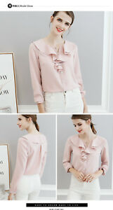 New-Women-OL-solid-Ruffle-Career-Frill-Collar-Long-Sleeve-Shirt-Tops-Blouse