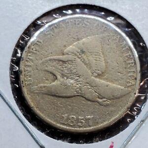 1857 Flying Eagle Cent Penny Coin Fine Details Cleaned Pre Civil War Era
