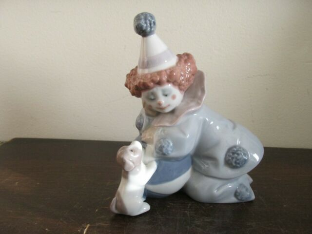 Lladro Spain Porcelain Figurine 5278 Pierrot With Ball And Dog Clown Mint