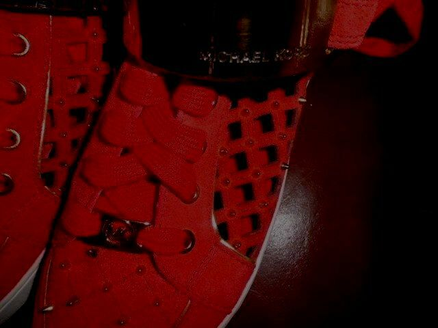 MICHEAL-KORS Keaton-Suede-Studded Perforated-ROSSO Medium Hi-Top  NEW SZ 8. Medium Perforated-ROSSO (B, M f6b786