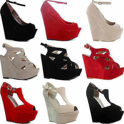 WOMENS LADIES WEDGE WEDGES HIGH HEEL PLATFORM SANDALS PEEPTOE STRAPPY SHOES SIZE