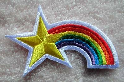 CUTE PRETTY STAR WITH RAINBOW COLOR Embroidered Iron on Patch Free Postage