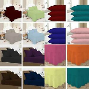 Plain Dyed Orange Fitted Flat valance Single Double King Bed Sheet Pillow Cases
