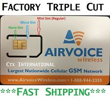 Airvoice Wireless (Nano) SIM Card New, NEVER ACTIVATED. AT&T No Contract