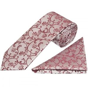 Burgundy Floral Classic Men's Tie and Pocket Square Set Regular Wedding Tie Prom