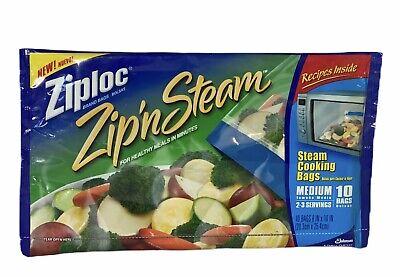 Ziploc Zip/'n/'Steam Microwave Cooking Bags Medium 10 Bags Pack of Pack - 3