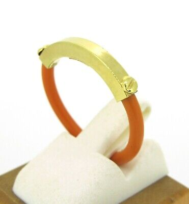 Fine Jewelry Jewelry & Watches Steady 14k Yellow Gold Italy Made Orange Rubber/resin Ring Size 7.5