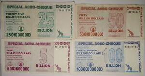 Image Is Loading Zimbabwe 5 25 50 And 100 Billion Dollars
