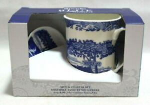 Spode-Home-Blue-Italian-Two-Piece-Ceramic-Mug-amp-Coaster-Set-Pictorial-Scene-New