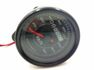 Universal LED Motorcycle Odometer KMH Speedometer Gauge Cafe Racer Old School
